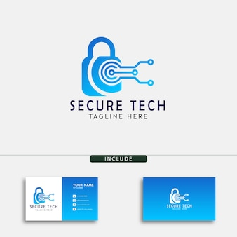 Modèle de conception de logo de technologie sécurisée créative pour votre ordinateur et votre boutique numérique