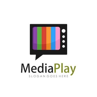 Modèle de conception de logo de télévision creative media