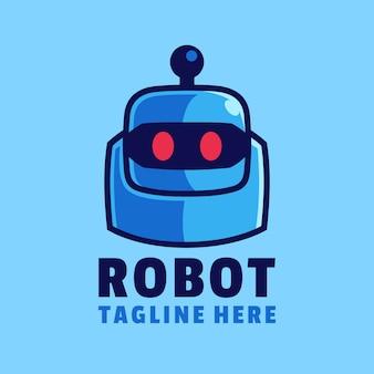 Modèle de conception de logo tête de robot bleu