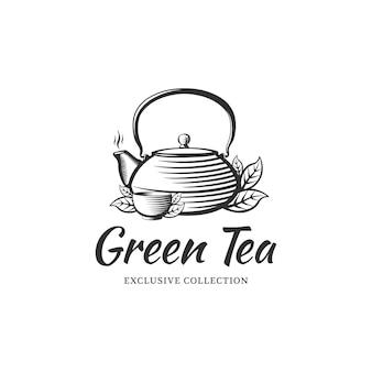 Modèle de conception de logo de thé pour café, boutique, restaurant. bouilloire et bol dans le style de la gravure.