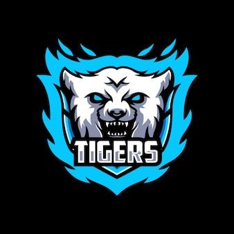 Modèle de conception de logo tiger esport