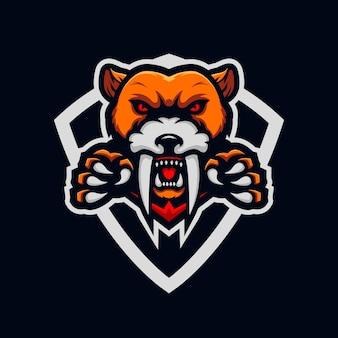 Modèle de conception de logo tigre esport