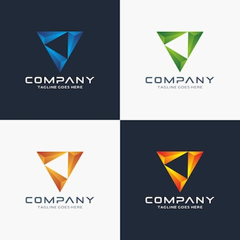 Modèle de conception de logo triangle 3d moderne