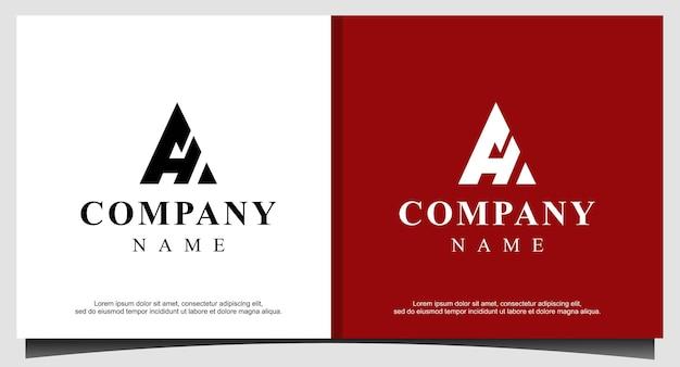 Modèle de conception de logo triangle ah