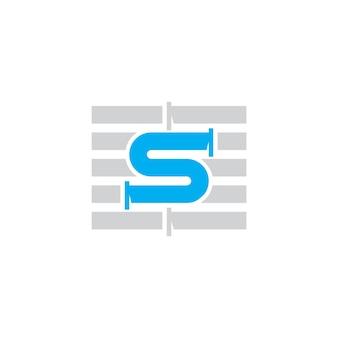Modèle de conception de logo de tuyau de lettre s pour le symbole de l'entreprise de plomberie