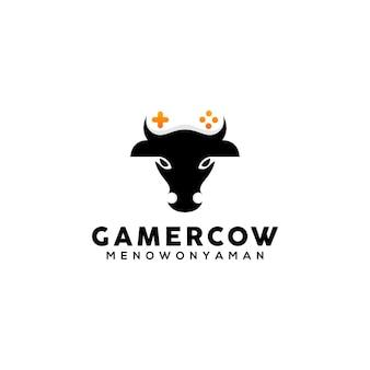 Modèle de conception de logo de vache gamer