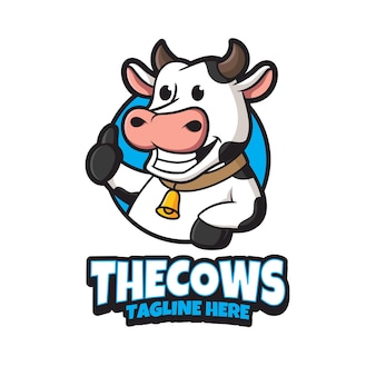 Modèle de conception de logo de vache