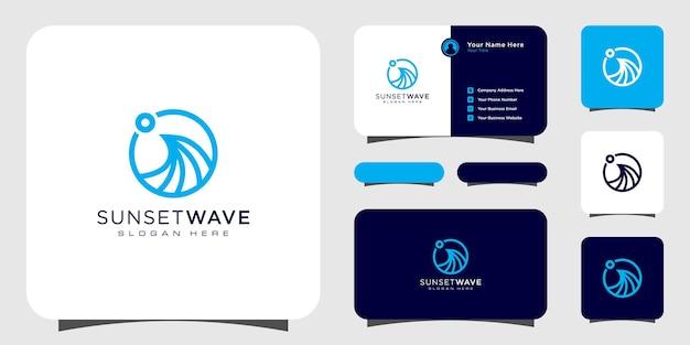 Modèle de conception de logo de vague de coucher de soleil