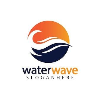 Modèle de conception de logo de vague d'eau