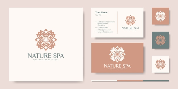 Modèle de conception de logo de vecteur d'inspiration de feuille de fleur créative et carte de visite