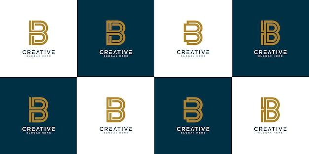 Modèle de conception de logo vectoriel abstrait lettre initiale b