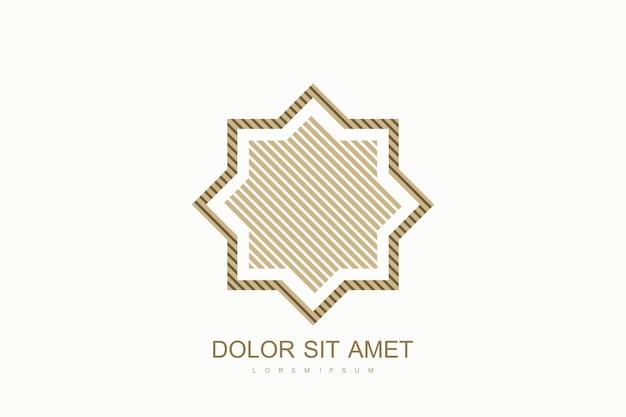 Modèle de conception de logo vectoriel arabe style émirats arabes dubaï icône plate logo emblème pour produc...