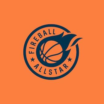 Modèle de conception de logo vectoriel bedge fireball / basketball