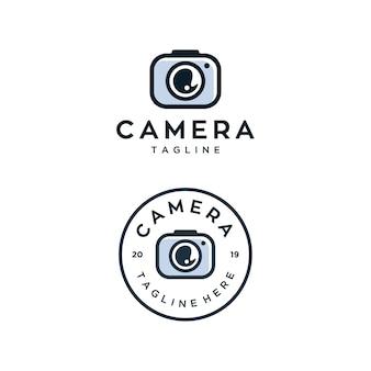 Modèle de conception de logo vectoriel caméra