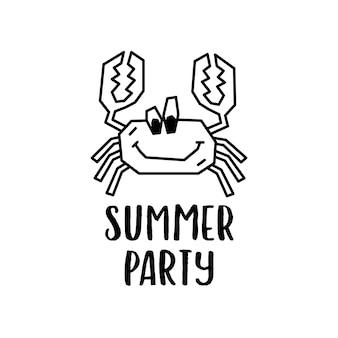 Modèle de conception de logo vectoriel simple contour avec personnage de crabe de dessin animé drôle joyeux et inscription summer party