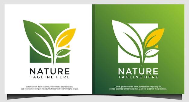 Modèle de conception de logo vert feuille nature