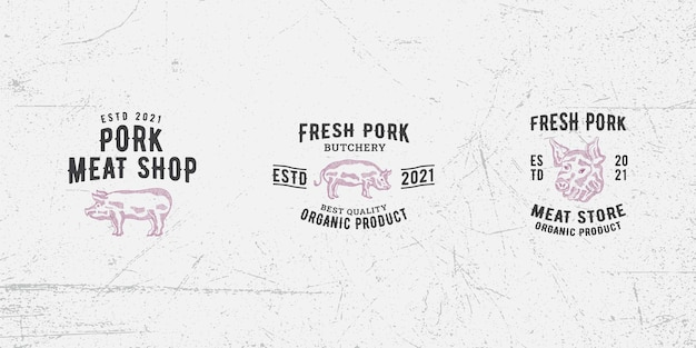 Modèle de conception de logo de viande de porc vecteur premium, porc, porc, cochon, boucherie, viande fraîche, boucherie
