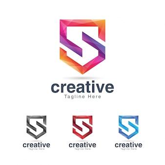 Modèle de conception de logo vibrant créatif lettre s