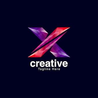 Modèle de conception de logo vibrant lettre créative x