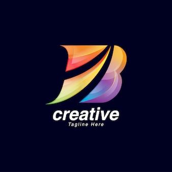 Modèle de conception de logo vibrante lettre b créative