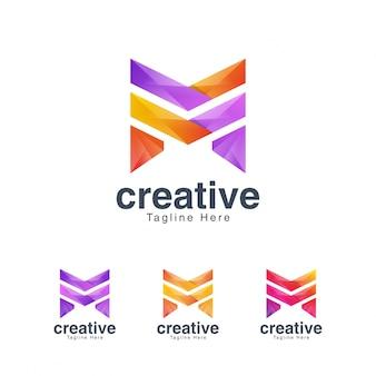 Modèle de conception de logo vibrante lettre créative m