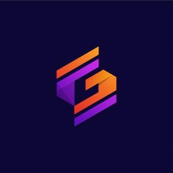 Modèle de conception de logo vibrante lettre g créative