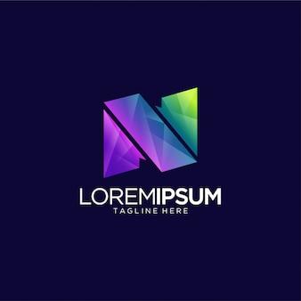 Modèle de conception de logo vibrante lettre n créatif