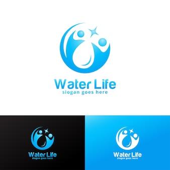 Modèle de conception de logo de vie aquatique