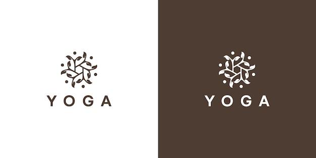 Modèle de conception de logo de vie de yoga vert impressionnant vecteur premium