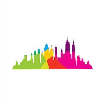Modèle de conception de logo de ville de couleur