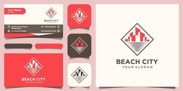 Modèle de conception de logo de ville de plage et conception de carte de visite.