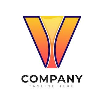 Modèle de conception de logo de vin coloré de lettre initiale de style dégradé moderne v