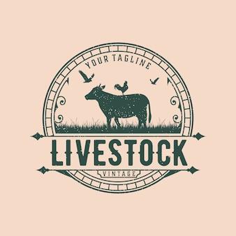 Modèle de conception de logo vintage de bétail abstrait