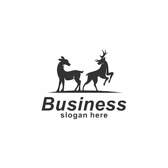 Modèle de conception de logo vintage deerhorn