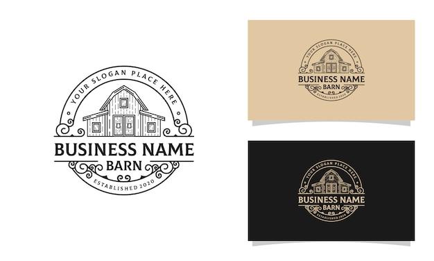 Modèle de conception de logo vintage line art barn / farm