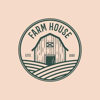 Modèle de conception de logo vintage de maison de ferme