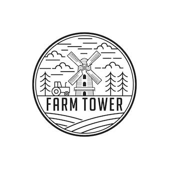 Modèle de conception de logo vintage tour de ferme de ligne art