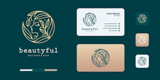 Modèle de conception de logo de visage de femme de beauté. logo de femme avec logo de concept de dégradé de beauté.