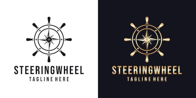 Modèle de conception de logo de volant marin