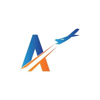 Modèle de conception de logo de voyage aérien lettre a-vecteur