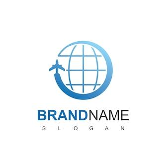 Modèle de conception de logo de voyage dans le monde