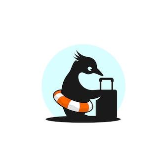 Modèle de conception de logo de voyageur pingouin