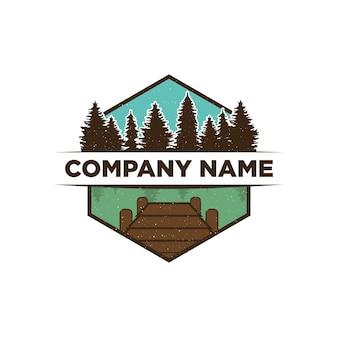 Modèle de conception de logo de vue sur le lac