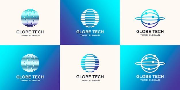 Modèle de conception de logo world tech