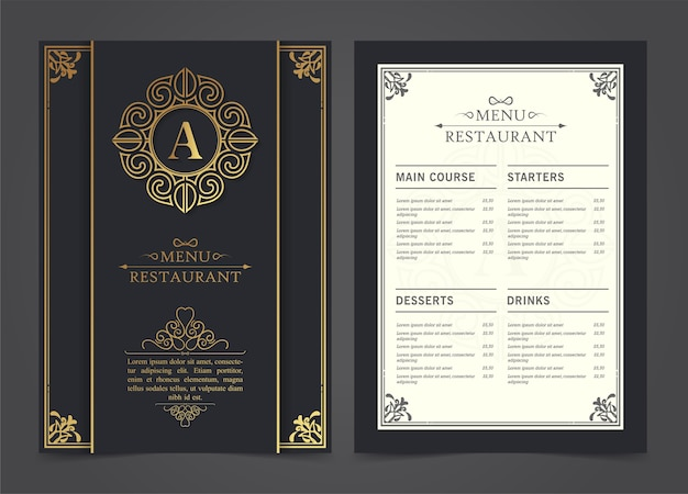 Modèle de conception de luxe de restaurant de menu