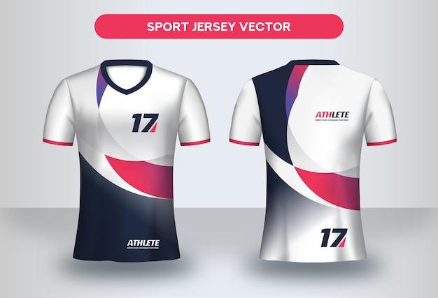 Modèle de conception de maillot de football. conception d'entreprise, t-shirt uniforme de club de football vue avant et arrière.