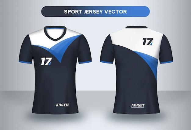 Modèle de conception de maillot de football. design corporatif, uniformes de club de football, vue avant et arrière.