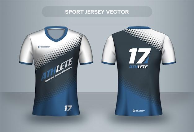 Modèle de conception de maillot de football. t-shirt uniforme de club de football, vue avant et arrière.