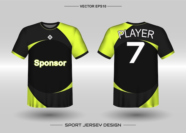 Modèle de conception de maillot de sport pour l'équipe de football de couleur noire et jaune