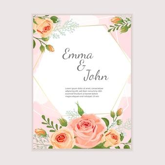 Modèle de conception de mariage élégant avec de beaux bouquets de roses. idéal pour les invitations, les cartes de voeux, les flyers. illustration vectorielle.
